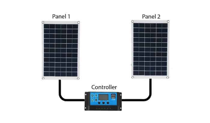how to connect two solar panels to one controller